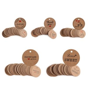 100pcs Bag 'Thank you' with Red Heart Decor Kraft Paper Gift Tag Wedding Party Round Shaped Paper Hang Tags Price Label