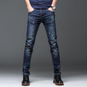 Мужские джинсы весенняя зима 2021 теплый тонкий подходящий бизнес мода сгущает джинсовые брюки черные синие мужчины
