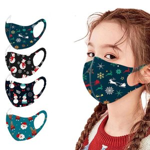 US Stock, Kids Cycling Mask Christmas face mask Fashion Santa Claus Christmas Printing Anti-dust Breathable Washable Ice Silk Mouth Mask