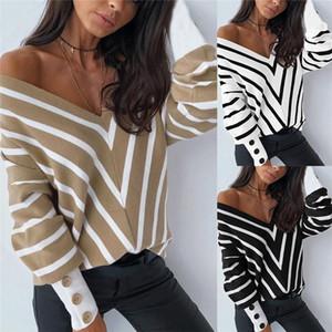 Imcute Women Fashion off Hombro Suéter de punto Sexy V Cuello de manga larga Striped Suelto Pullover Spring AUTMN Suéter 2021 Nuevo