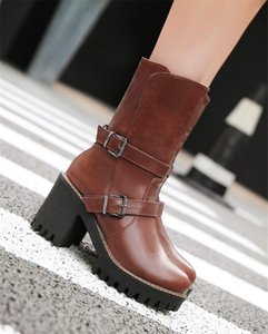 YMECHIC Womens Motorcycle Boots Female Footwear Black Brown Buckle Strap Winter Shoes Block Heel Punk Motorcycle Boots Plus Size