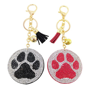 Fashion Bag Pendant Korean Velvet Diamond Keychain Tassel Pendant Mini Dog Paw Car Keychain Rhinestones Keychain