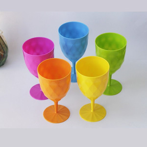 12oz Plastic Champagne Flutes PP Colorful Plastic Red Wine Champagne Flutes 6pcs set Disposable Wine Mug GWA3674