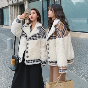 Woolen coat women's winter new style Korean loose short stitching lamb wool coat winter women jacket