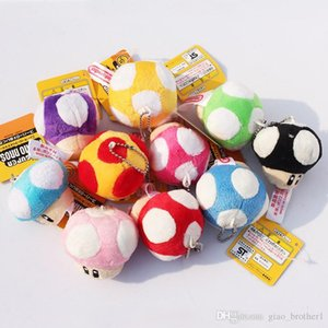 "Super Mario Bros Mushroom With Key Chain Plush Doll 2.5"" Toy doll 10colors Free shipping"