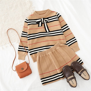 2020 Autumn New Arrival Girls Knitted 2 Pieces Suit Top+skirt Kids Clothing Girls Clothing Q1215