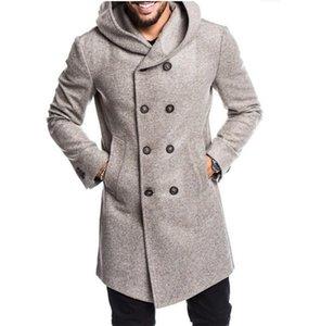 Gli uomini del progettista di lunghezza di inverno lana cappotti modello Plaid Moda Uomo Warm Cardigan Cappotti Manteaux Pour Hommes