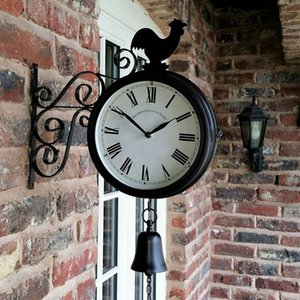 Outdoor Garden Wall Clock Double Sided Battery Powered Vintage Retro Home Decor Coffee Bar Decoration Metal Hanging Clock 201202