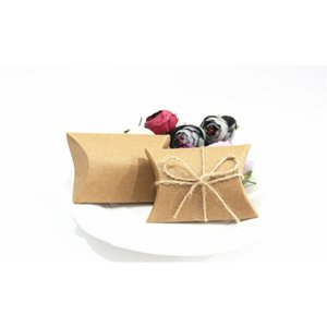 Fashion Hot Cute Kraft Paper Pillow Favor Gift Box Wedding Party Favour Gift Candy Boxes Paper Gift Box Bags Supply
