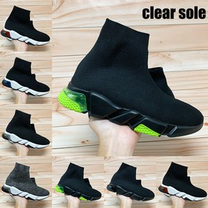 New instrutor velocidade paris claras únicos sapatos meias amarelas triplas homens fluo Oreo preto Borgonha moda feminina sapatilhas ocasionais US 6-11