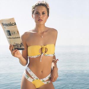 Bathing Suit Swimwear Bow Swimsuit Bikini Set Bandeau Biquini Polka Dot Lace Women Biquinis Low Waist Fits True to Size, Take