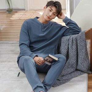 Male Oversize 100% Cotton Pajamas Suits 2PCs Spring Autumn Sports Leisure Wear Breathe Freely Winter Homewear Long-Sleeves1