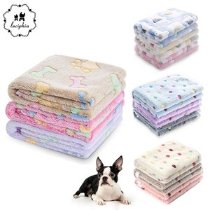 3 Packs Pet Blanket Bed Mats Super Soft Fluffy Fleece Dot Print Warm Flannel Throw for Dog Puppy Cat