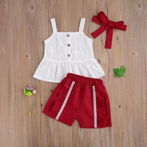 Lovely Baby Girls Clothes Sets 3pcs Single Breasted Sleeveless Vest Tops Ruffles Shorts Headband