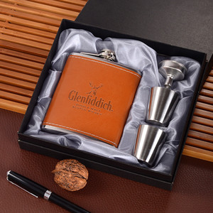 New Style 7oz Stainless Steel Hip Flask Set With 1 Funnel and 2 Cups Whiskey Wine Flagon Bottle Travel Drinkware For Gifts