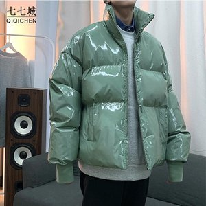 Qiqichen Herren Streetwear Winter Glossy Bubble Jackets 2021 Mens Harajuku Warm Hip Hop Parka Männliche Koreanische Mode Puffermantel