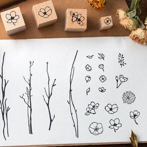 20 قطع مربع الخشبية المطاط النباتات النباتات والنباتات لفتة الديكور ختم طالب القرطاسية diy كرافت القياسية القصاصات العفن wmtsof