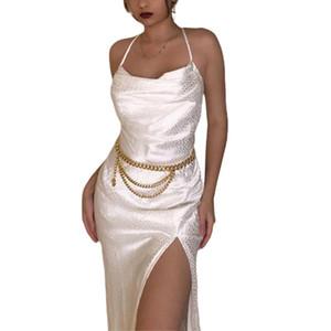 Elegant Sexy White Leopard Print Backless Slip Dress Women Sleeveless Cross Sling Slim Neck Evening Party Club Midi Split Dress