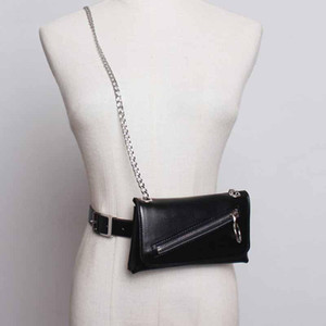 Luxury-SeeBeautiful New Fashion 2020 Autumn Metal Chain Pin Buckle Zipper Removable Mini Bag PU Leather Girdle Waist Belts Women