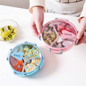 Baispo Portable Lunch Box sano plastica in acciaio inox acciaio inox contenitore per la scuola picnic cibo frutta 3 griglie contenitore alimentare 201015