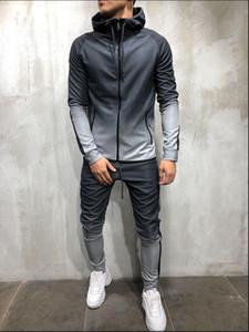Men's Tracksuit Set Man Jogging Suit Casual Colorblock Stripe Sweat Suits Grey Gym Clothes Spring Autumn Male Sets Sportswear