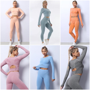 Top Seller Ins Yoga Trajes de yoga de punto sin costura Otoño e invierno Traje de fitness de manga larga Juego de yoga