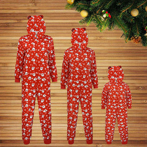 2020 Hot Sale Red Color Hooded Cute Loving Family Clothes Pajamas Set Winter Warm Comfortable One-piece Garment Hommes Veste#3 B1205