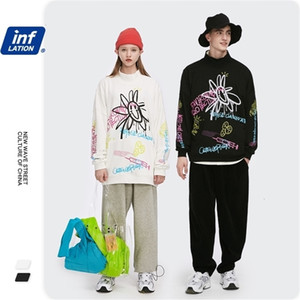 Inf men's wear | fashion brand new fashion brand street graffiti smile face loose stand collar Terry bottom men's sweaterPYAVVPXP