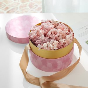 Round Velvet Flower Hat Box with Bowknot and Lid Luxury Gift Boxes Rose Bouquet Arrangement Gift Surprise Box Floristry DIY Q1127