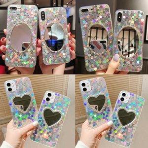 2020 Dernier cas de téléphone à la suite de Bling pour iPhone 12 11 Paillettes époxy féminin avec couvercle de protection miroir pour étui iPhone