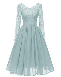 Fashion-2020 fall new wish hot sale V-neck lace stitching mesh chiffon slim fashion dress