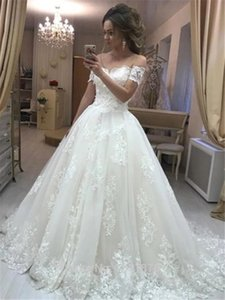 Setwell Sweetheart A-line Wedding Dresses Short Sleeves Lace Appliques Pleated Tulle Floor Length White Bridal Gowns