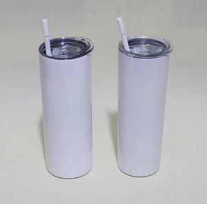 20oz 승화 직선 스키니 텀블러 공백 흰색 스테인레스 스틸 진공 절연 테이퍼 슬림 DIY 20 z 컵 카 커피 머그잔