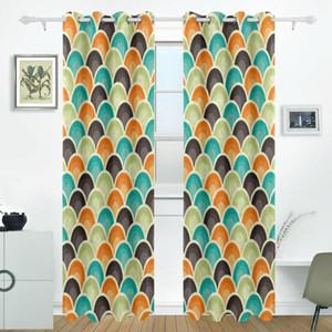 Retro Geometric Pattern Curtains Drapes Panels Darkening Blackout Grommet Room Divider for Patio Window Sliding Glass Door 55x84