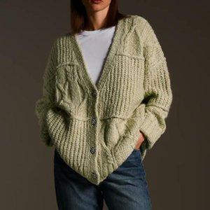 Kumsvag femmes automne hiver cardigans chandail manteaux tricotés col en V lâche chandails femelles