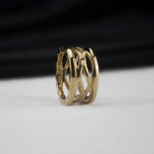 Women Titanium Steel Hollow Ring Ladies Gold Rings Wedding Engagement Fine Jewelry