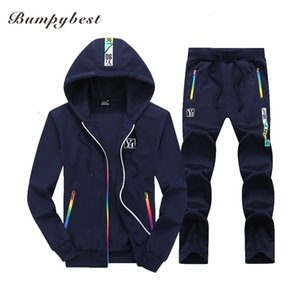 Bumpybeast Sporting Suit Mens Hoodie Zipper Cardigan Pants Suits Designer Tracksuit Two Piece Set Men Clothing Sets Plus TDWQ