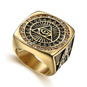 Hip Hop Men's Iced Out Cubic Zirconia AG Masonic Ring 316L Stainless Steel Gold Color God Eye Rings For Men Jewlery Dropshippin Z1202