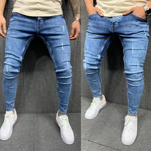 New Men Blue Jeans Solid Color Frayed Slim-Fit Bikes Pencil Pants Classic Business Streetwear Men Free Delivery