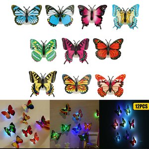 12X Color Changing 3D Butterfly LED Night Light Home Kids Room Wall Decor DIY