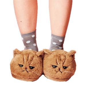 Millffy cute New arrival lovely PLUSH KITTEN SOFT ANIMAL Cat Women Plush Slippers Ladies home BEDROOM Slippers 201130