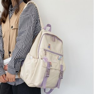 DCimoR PREPPY Style Fibbia Studente Contrasto Colore Zipper impermeabile Nylon Donne Zaino Femmina Lovely Travel Bagack Q1113