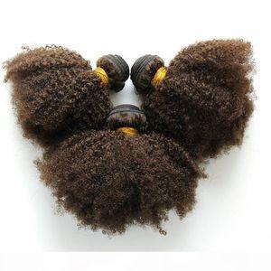 Mejor Calidad Color 4 Virgin Indian Kinky Curl Hair 3pcs Human Hair Weave para mujeres negras envío gratis
