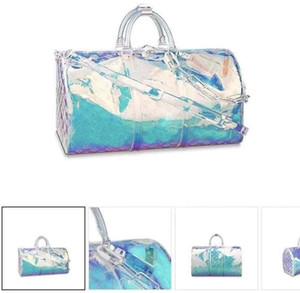 Erkekler Lüks Seyahat Çantası KeepAlış 50 M53271 Şeffaf Plastik Omuz Çantaları PVC Holdall Seyahat Duffel Çanta Tote