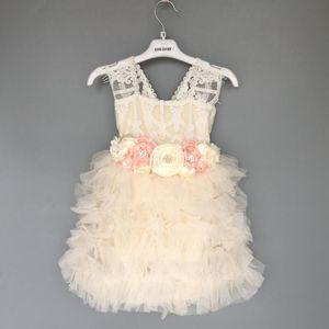 toddler flower girls wedding dress for children tutu dress with sashes lace summer sling sundress for party Halloween Z1127