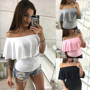 Summer Ruffle Shirts Off Shoulder One Collar Female Blouse Sexy Tops Fashion Tops Female Tees Fashion Slim Solid Color Shirt