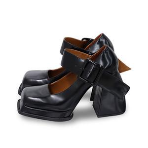 2021 أزياء جديدة ماري جينس أحذية النساء الأسود براءات جلدية عالية الكعب امرأة ساحة تو متعطل الرجعية مضخات أحذية النساء