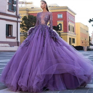 Arabic Purple Ball Gown Evening Dresses Long Sleeves Women Feather Prom Dress Tulle Puffy Sweet 16 Quinceanera Gowns robes de soiree