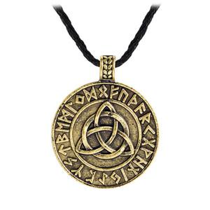 ValkNut Pagan Amuleto Vegvisir Viking Cordón de cera Escandinavo Norse Joyería Runes Charm Colgante Collar Amuleto Joyería al Por Mayor