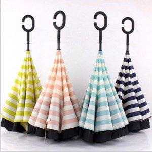 Paraguas C Tipo Protección solar Sombrillas Portátiles Doble Pongee Stripe Paraguas inverso Handle Largo recto Umbrellas al aire libre AHF3348